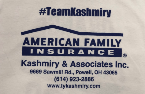 Back of shirt, with details and contact info for Team Kashmiry!